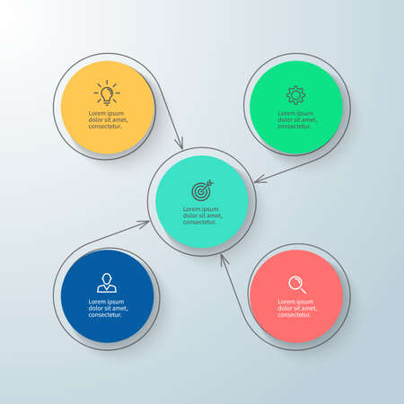 4 5: Circular infographic with central element. Minimalistic diagram with 4, 5 steps. Vector design element.
