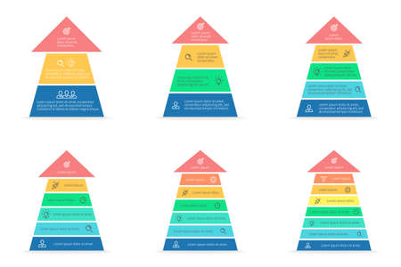 7 8: Arrows for infographics. Diagrams with 3, 4, 5, 6, 7, 8 steps. Vector design elements. Illustration