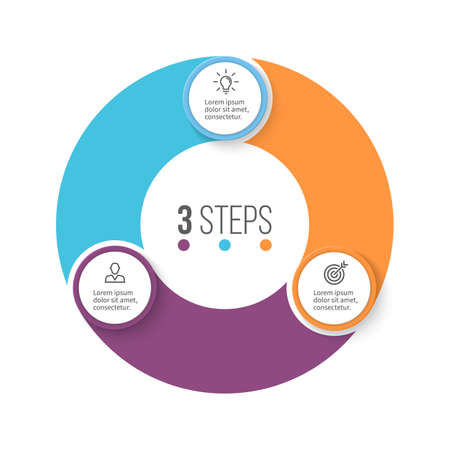 three phase: Circular infographics. Business diagram with 3 steps. Vector design element.