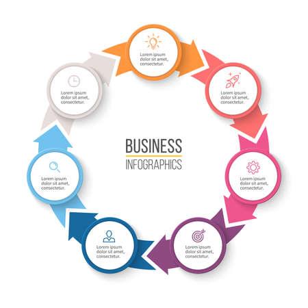 Flechas circulares para la infografía. Cuadro, gráfico, diagrama con 7 pasos, opciones, piezas. plantilla de presentación de vector. Foto de archivo - 58718616