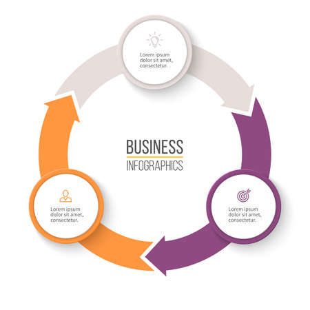 three phase: Circular arrows for infographics. Chart, graph, diagram with 3 steps, options, parts. Vector business template.