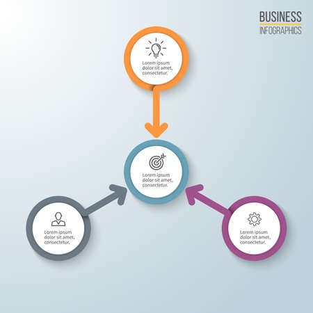 three phase: Business infographics. Diagram for presentation. Vector template.