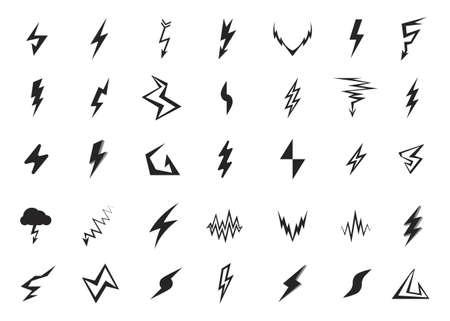 lightning speed: Lightning icons set. Vector elements