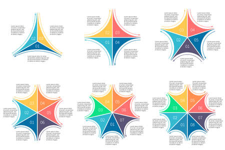 7 8: Linear infographics set. Diagrams with 3 4 5 6 7 8 steps. Vector templates. Illustration