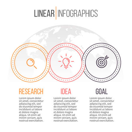 Linear infographics. Timeline with 3 steps. Vector template Vector Illustration