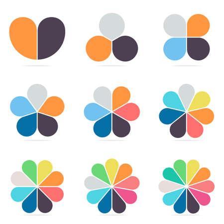 Éléments pour infographies. Les diagrammes circulaires, des diagrammes avec 2 3 4 5 6 7 8 9 10 parties Vector design templates
