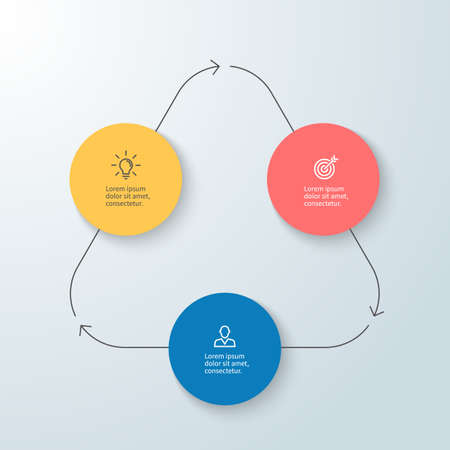 three phase: Business infographics. Minimalistic diagram, chart, graph with 3 steps. Vector design element.