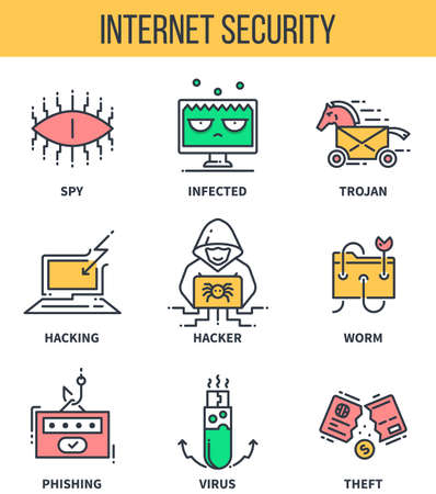 threats: Internet security, computer protection, cyber threats . Linear icons for infographics