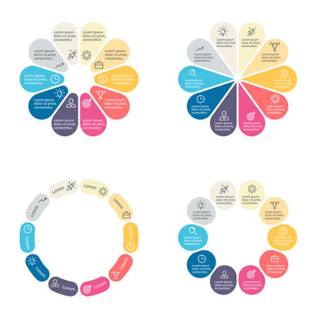sections: Circular infographics with 10 sections. Vector template.