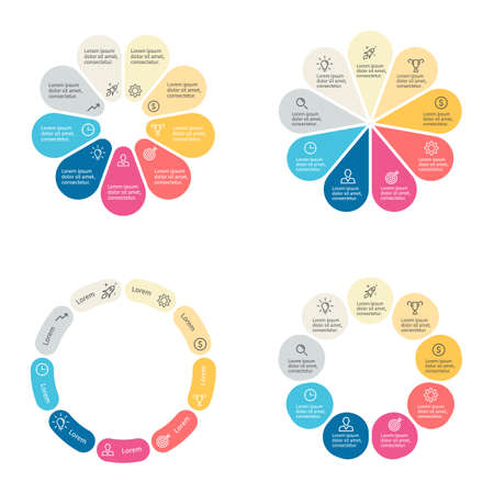 sections: Circular infographics with 9 sections. Vector template.