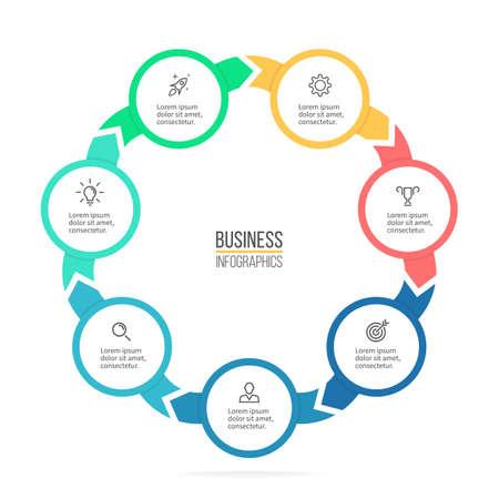 heptagon: Circular infographics. Business diagram with 7 steps. Vector design element. Illustration