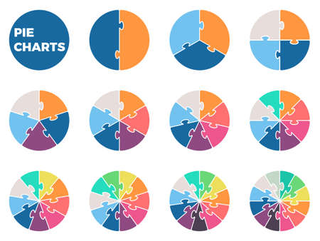 puzzle business: Pie charts for infographics. Diagrams with 1 - 12 parts. Vector design element.