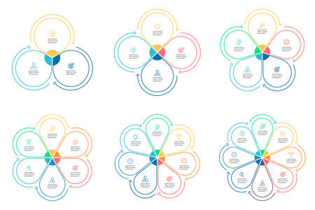 five petals: Outline infographics with petals. Chart, diagram, graph with 3 4 5 6 7 8 steps options parts with arrows Vector design elements