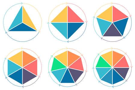 heptagon: Triangle, square, pentagon, hexagon, heptagon, octagon for infographics with circular arrows Vector design elements