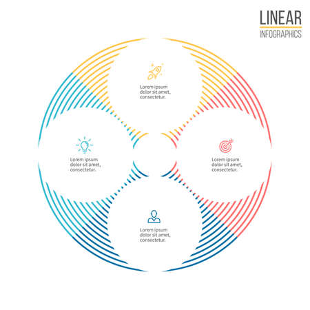 circular arrow: Linear infographis. Minimalistic chart, diagram. Vector design element.