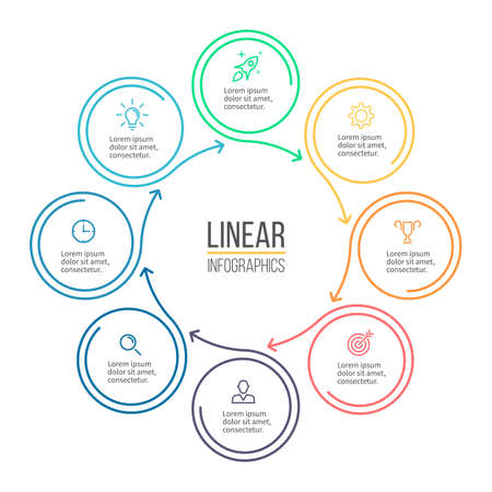 graphic elements: Linear infographis. Minimalistic chart, diagram with 8 steps, options. Vector design element.
