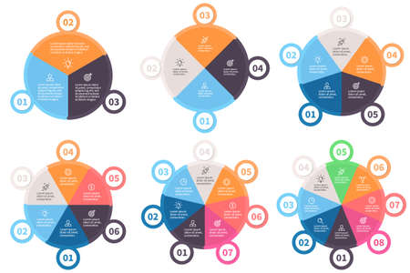 Infographic templates. Pie charts with 3 - 8 parts. Vector design elements