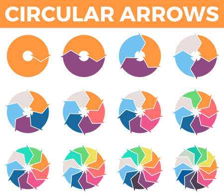 12 step: Circular arrows for infographics with 1 - 12 parts. Vector design element.