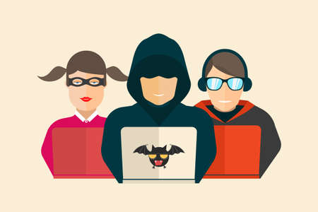 coder: Hacker, fraud and coder. Computer security Vector illustration