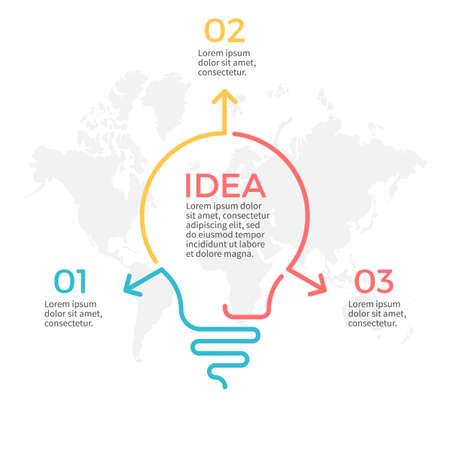 Infographie de l'ampoule. Tableau d'idées avec 3 étapes, pièces. Vecteurs