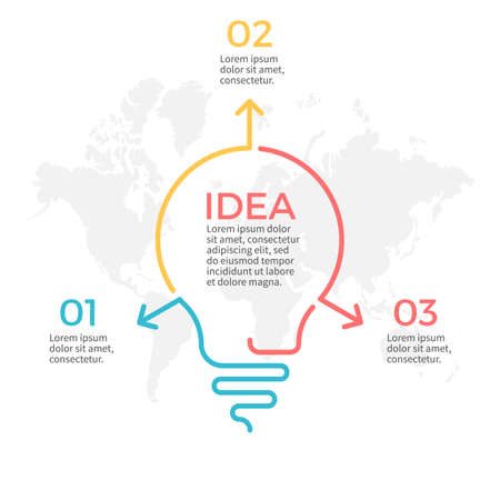 three phase: Light bulb infographic. Idea chart with 3 steps, parts. Illustration
