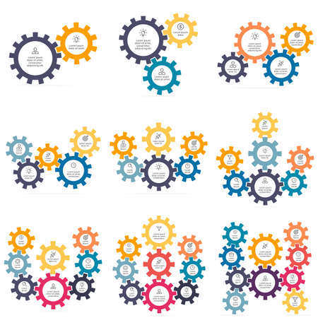 Charts with 2 - 10 gears. Vector templates Vetores