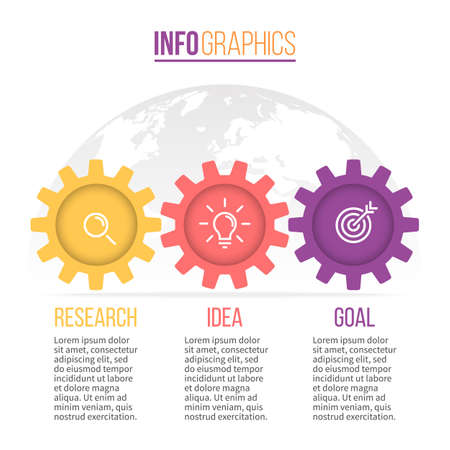 line graph: Business infographics. Timeline with 3 gears steps