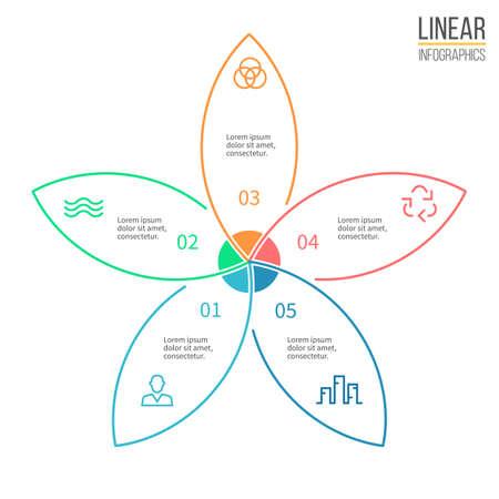 five petals: Pie chart with 5 petals. Vector design element. Illustration