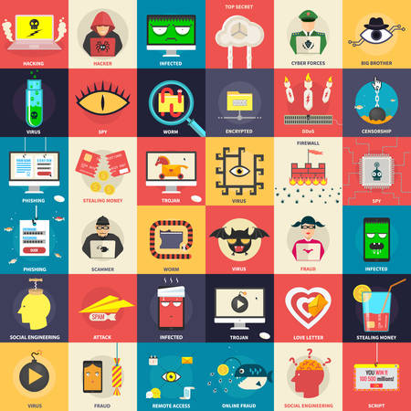 Hacker, computer security icons. Vector design elements for infographics.