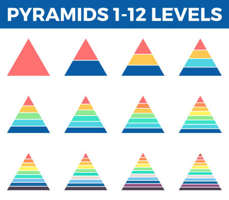 12 step: Pyramids, triangles for infographics. Diagrams with 1 - 12 steps, levels.