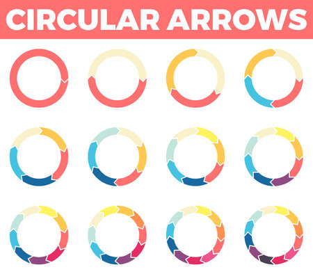 three pointer: Thin circular arrows for infographics with 1 - 12 parts.