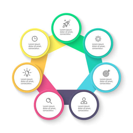 heptagon: Business infographics. Diagram, chart, graph with 7 steps.