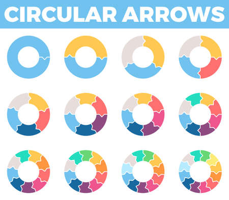 a 12: Business infographics. Circular arrows with 1 - 12 steps, parts.