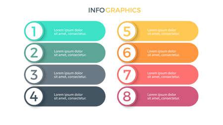 Infographie des affaires. Présentation avec 8 étapes, options. Éléments de vecteur