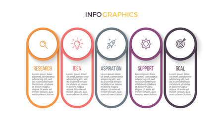 annual ring annual ring: Business infographics. Presentation with 5 sections, parts. Illustration