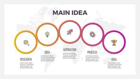 Business-Infografiken. Präsentation mit 5 Kreisen, Optionen. Vektor-Vorlage.