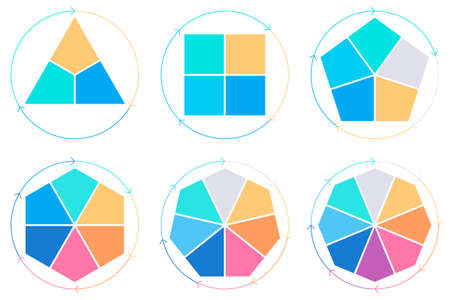 heptagon: Business infographics. Triangle, square, pentagon, hexagon, heptagon, octagon. Vector pie charts with 3, 4, 5, 6, 7, 8 steps, arrows.