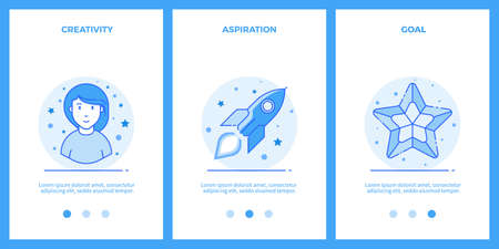 Creative woman, desire for a dream, goal. Outline blue banners, screens for mobile apps and web sites. Vector illustration. Illustration