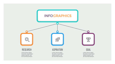 Business hierarchy infographic. Organization chart with 3 options. Vector template.