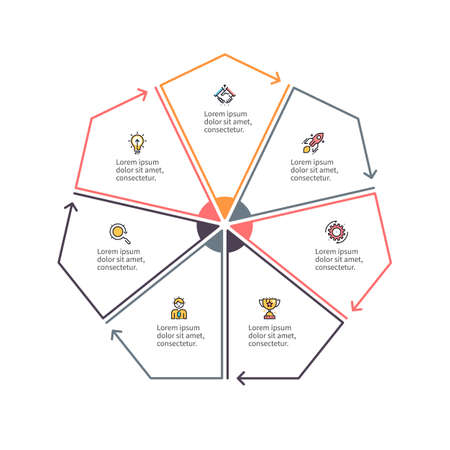 heptagon: Outline heptagon with 7 parts, sections for infographics. Illustration