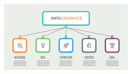 Business hierarchy infographic. Organization chart with 5 options. Vector template. Illustration