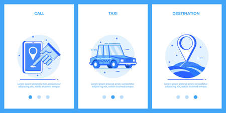 Icons of taxi service - call, taxi, destination. Outline blue banners, screens for mobile apps and web sites. Vector illustration. Illustration