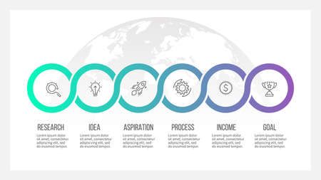 Timeline info graphics with 6 options template Illustration