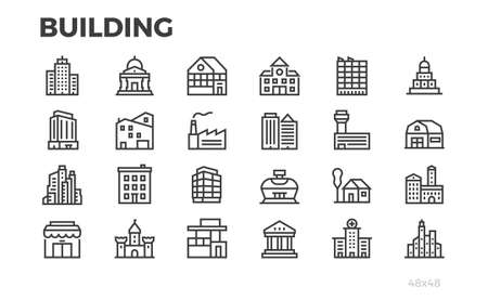 Building icons. City, house, home, architecture, office, real estate and others symbols. Editable line. Pixel perfect. Vettoriali