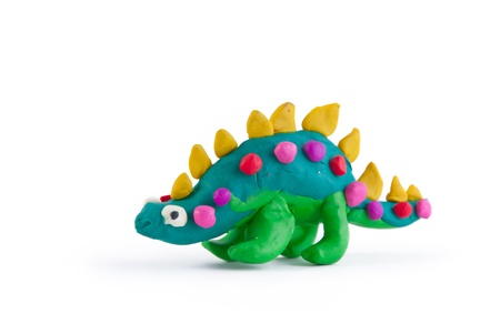 clay: Dinosaur made of plasticine isolated on white
