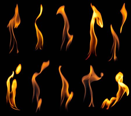 Fire flames collection, isolated on black background Stock Photo