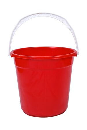 Red bucket isolated on white background