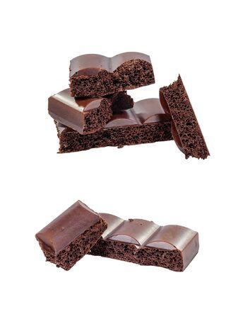 Half black chocolate bars isolated on white background, set photo