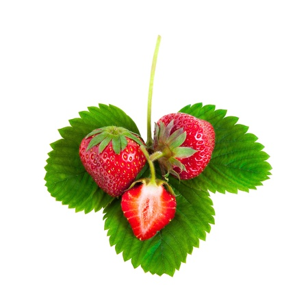 Whole and half strawberries on green leaves isolated on white background Stock Photo - 13826421