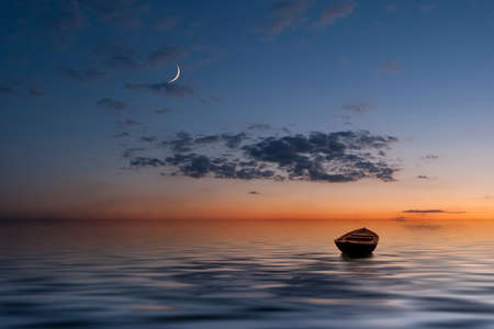 The lonely old boat at the ocean, evenig sky with moon and clouds on background photo